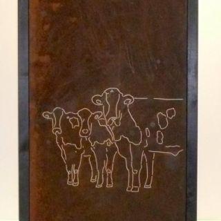 Tuinscherm Cortenstaal 90 x 180 cm met koeien