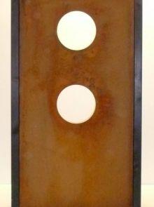 Tuinscherm Cortenstaal 90 x 180 cm met twee ronde gaten
