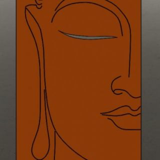 Tuinscherm Cortenstaal 90 x 180 cm met Boeddha