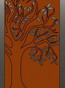 Tuinscherm Cortenstaal 90 x 180 cm met boom rechts