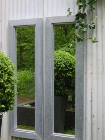 Tuinspiegel zink afmeting 160x50 cm met lijst van 8 cm in buitenkwaliteit