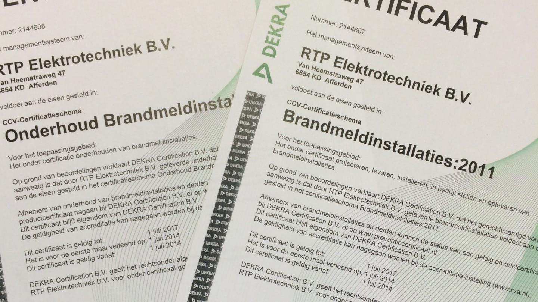 RTP gecertificeerd voor brandmeldinstallatie-regeling 2011