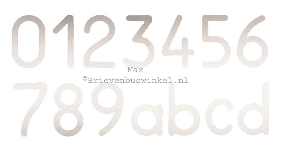Huisnummers Max RVS
