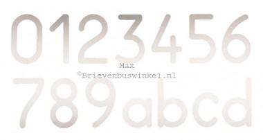 Huisnummer Max RVS 0