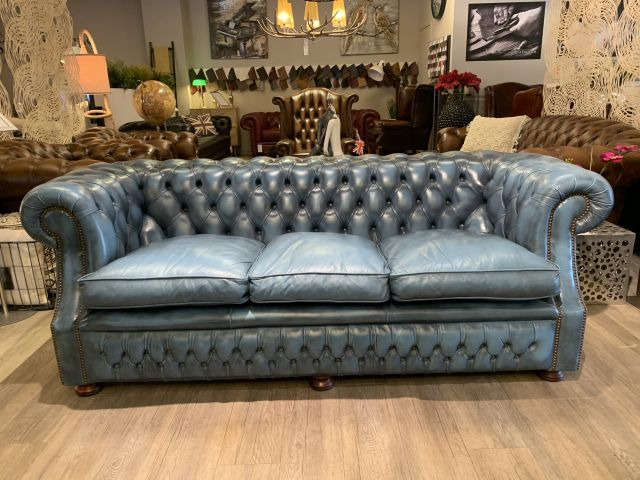Engelse Springvale chesterfield 3 zits bank Jeans Blauw
