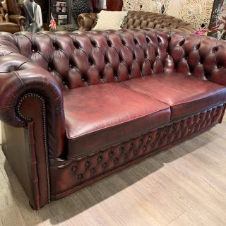 Engelse Winchester chesterfield 3 zits bank Oxblood Rood