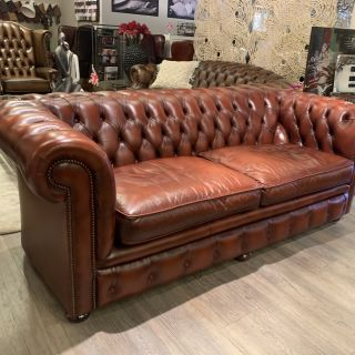 Engelse Springvale chesterfield 3 zits bank Light Rust