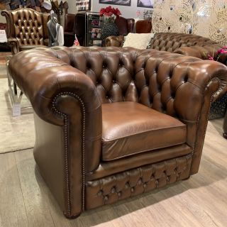 Engelse Springvale chesterfield clubfauteuil bruin