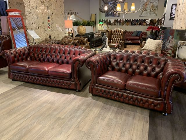 Engelse Springvale chesterfield zithoek 3+2 zits Oxblood Rood
