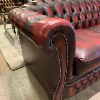 Engelse Springvale chesterfield 2,5 zits bank in Oxblood Red