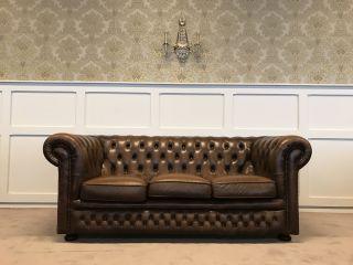 Engelse Chesterfield 3 Zits bank Cognac Bruin Springvale