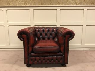 Engelse Chesterfield club fauteuil Oxblood Rood van Springvale