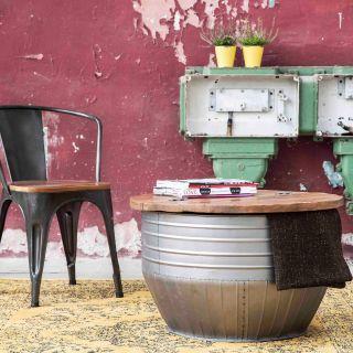 Rond Industriële Vintage salontafel Emmer Storage