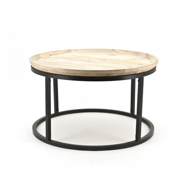 Rond Industriële Vintage salontafel Solo hout metaal
