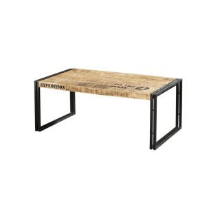 Industriële Vintage salontafel Rechthoekig mangohout met metalen onderstel