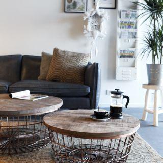Industriële Vintage salontafel hout koper New Glory