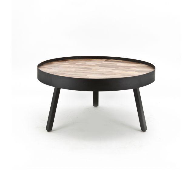 Industriële Vintage salontafel hout met metalen poten