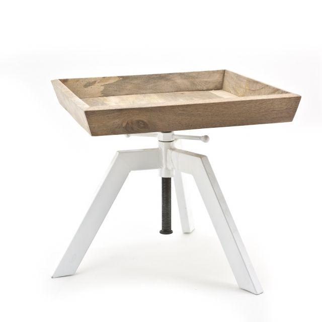 Industriele Vintage Bijzettafel Adjustable hout met wit metalen onderstel