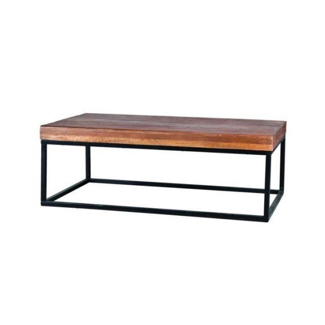 Industriële Vintage salontafel Rechthoekig stroken hout met metalen onderstel