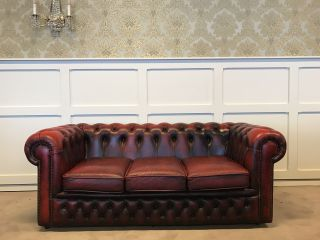 Engelse Chesterfield 3 Zits bank Oxblood Rood
