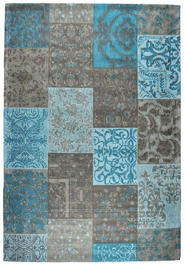 Vintage Patchwork tapijt / vloerkleed Aqua