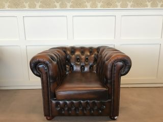 Engelse Chesterfield club fauteuil Bruin gevlamd