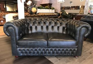 Engelse Chesterfield 2 Zits bank Jeans Blauw