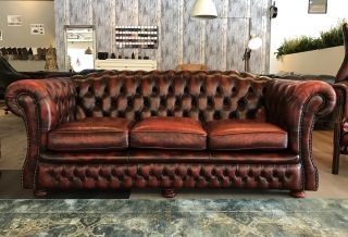Engelse Springvale Chesterfield 3 Zits bank Oxblood Rood