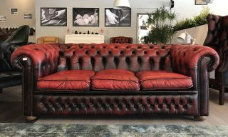 Engelse Vintage Chesterfield 3 Zits bank Oxblood Rood