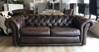 Engelse Chesterfield 3 Zits Lounge Bank Bruin