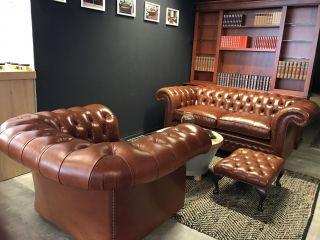 Engelse Springvale Chesterfield zithoek bank + fauteuil Cognac Bruin