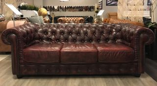 Robuuste Chesterfield 3 Zits bank in Oxblood Rood