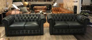 Engelse Vintage Chesterfield zithoek 2 x 2 zits banken Jeans Blauw