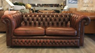 Engelse Springvale Chesterfield 2,5 Zits bank Roodbruin