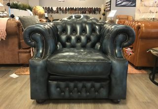 Engelse Springvale Chesterfield clubfauteuil Jeans Blauw