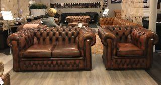 Engelse Chesterfield zithoek bank + fauteuil Oranje bruin