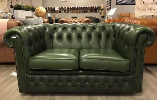 Engelse Chesterfield zithoek 2 Zits bank + club fauteuil Groen