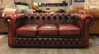 Compacte Engelse Chesterfield 3 Zits bank Oxblood Rood