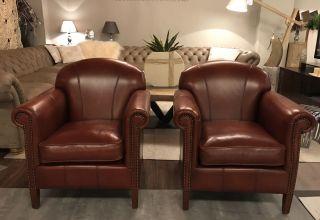 2 x Chique Engelse club fauteuils Art Deco Cognac Bruin