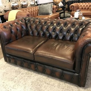 Chique Chesterfield zithoek 3+2 zits Donker Bruin
