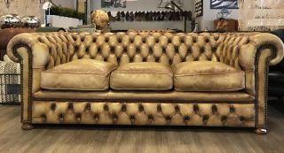 Oude Engelse Chesterfield 3 Zits bank Naturel