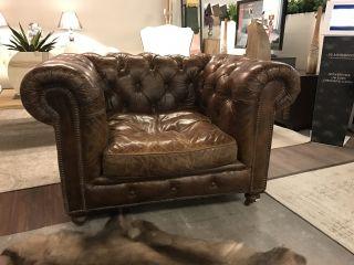 Stoere industriële Chesterfield club fauteuil Cognac Vintage
