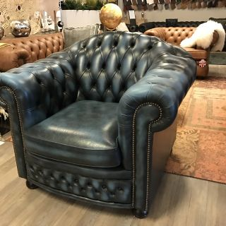 Engelse Springvale Chesterfield club fauteuil Jeans Blauw Nottingham