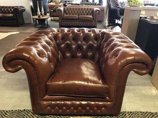 Engelse Springvale Chesterfield XL club fauteuil Cognac Bruin