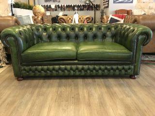 Engelse Vintage Chesterfield 3 Zits bank Groen