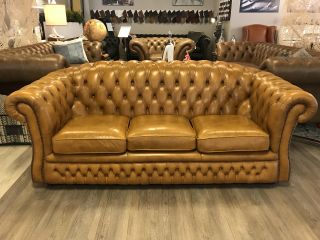Engelse Springvale Chesterfield 3 Zits bank Mosterd / cognac Bruin