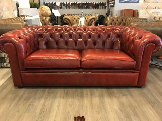 Engelse Salvale Chesterfield 3 zits bank Rood