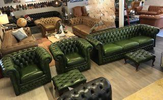 Engelse Springvale Chesterfield bankstel 4 Zits + 2 fauteuils Groen