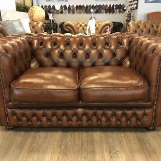 Engelse Springvale Chesterfield zithoek 3+2+1 Zits Tabacco bruin