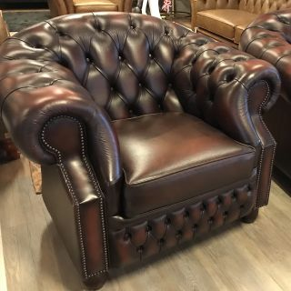 Engelse Chesterfield clubfauteuil Highback Roodbruin